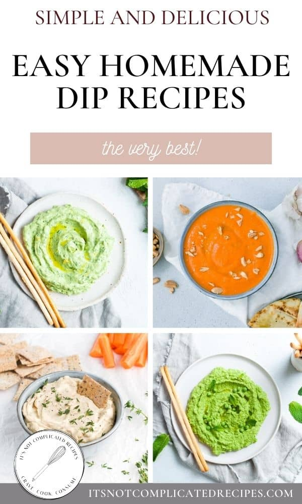 pinterest image with four images of dip recipes and text overlay.