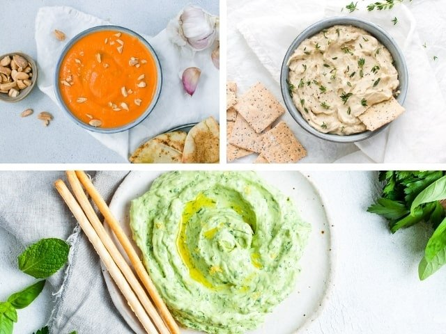 photo collage of three dip recipes - roasted capsicum pesto, onion dip and green goddess dip.