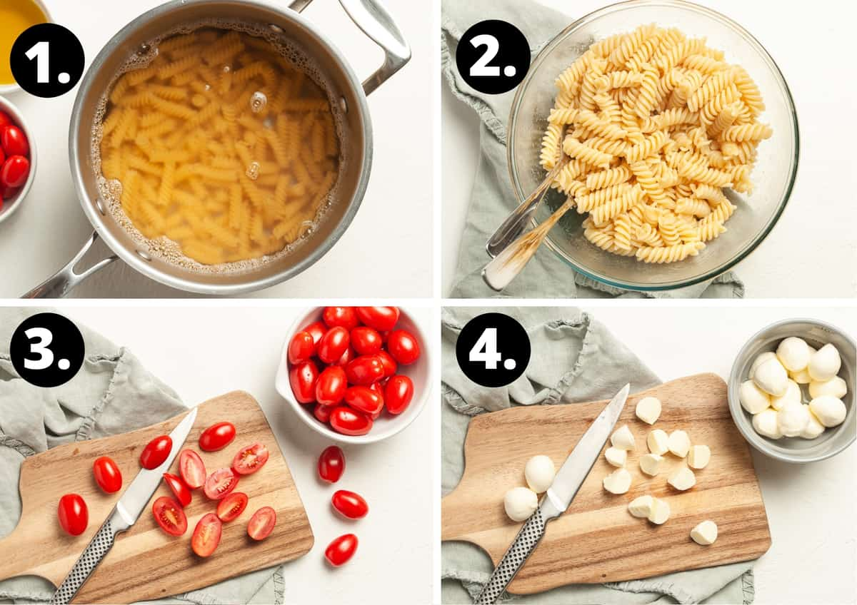 The first four steps to make this recipe in a photo collage - boiling the pasta in a saucepan, the cooked pasta in a bowl, the tomatoes being cut on a wooden board and the bocconcini being cut on a wooden board.