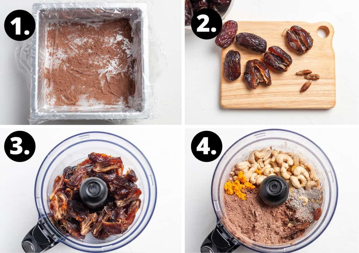 Steps 1-4 of preparing this recipe in a photo collage - preparing the tin, remove the pits from the date, add roughly chopped dates to food processor and add the remaining ingredients.