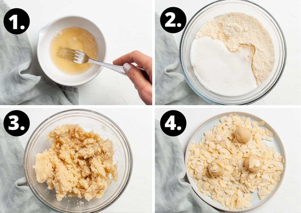 Steps 1-4 of the recipe in a photo collage - whisking the aquafaba, combining the ingredients together in a bowl, the cookie dough and rolling the balls of dough in the flaked almonds.