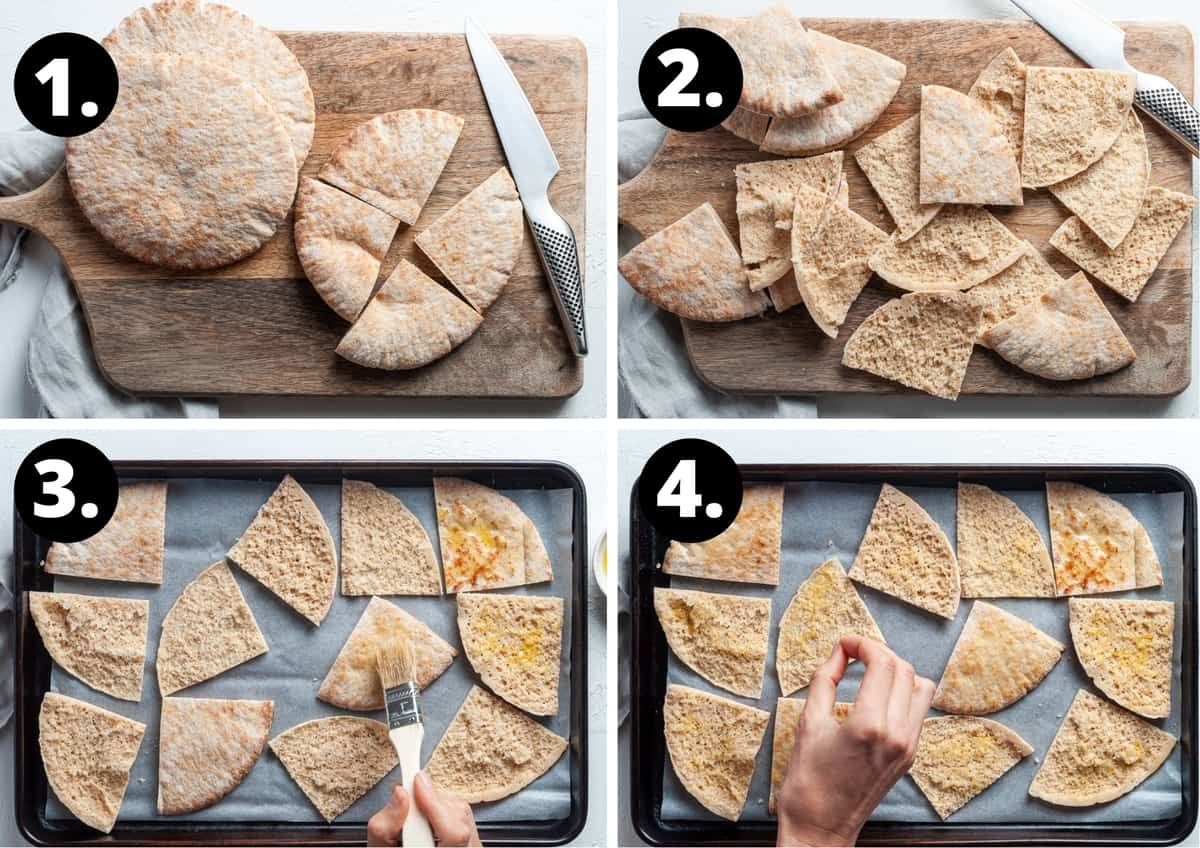 The four steps to make this recipe in a photo collage - cutting the pita bread, brushing with oil and sprinkling with salt on a baking tray.