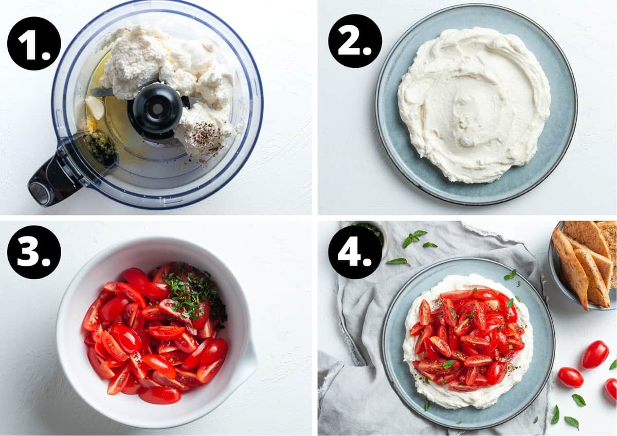 The four steps to make this recipe in a photo collage - the ingredients for the ricotta in a food processor, the ricotta on a serving dish, the tomatoes in a bowl and the finished dish.