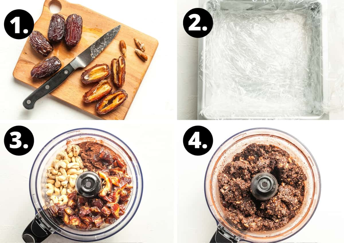 Steps 1-4 of this recipe in a collage - chopping the dates, preparing the tin, the ingredients in a food processor and the blended slice mix.