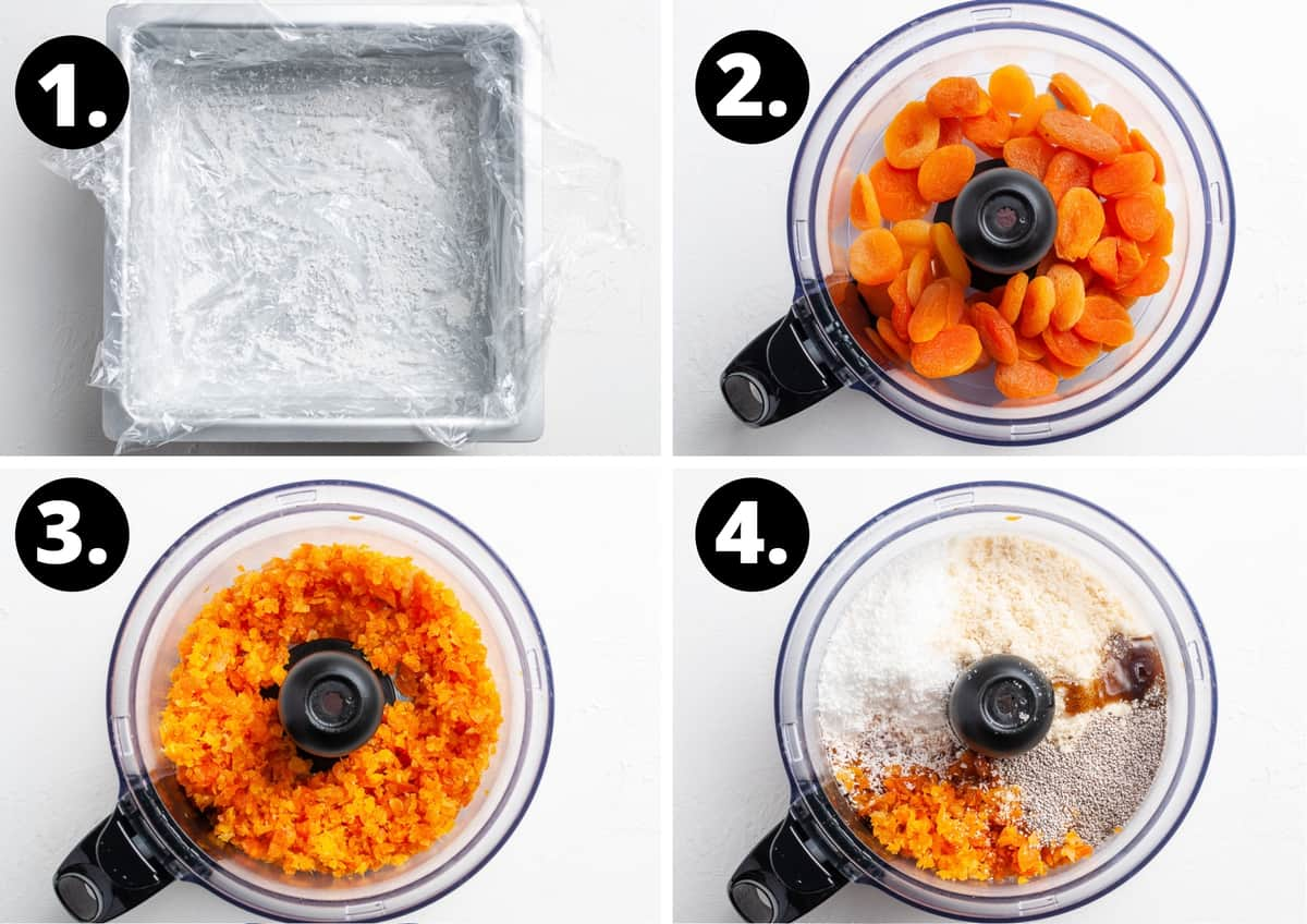 Steps 1-4 of preparing this recipe in a photo collage - lining a tin with clingfilm, adding apricots to a food processor, blending the apricots and adding the remaining ingredients.
