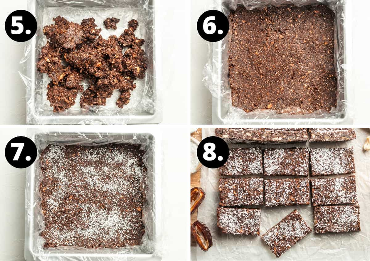 Steps 5-8 of making this recipe in a photo collage - the mixture in a tin, the mixture pressed down, topped with coconut and then sliced.