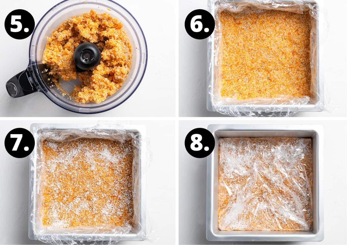 Steps 5-8 of preparing this recipe in a photo collage - the blended mixture, the mixture pressed into the tin, the slice sprinkled with coconut and wrapped in clingfilm to go into the fridge.