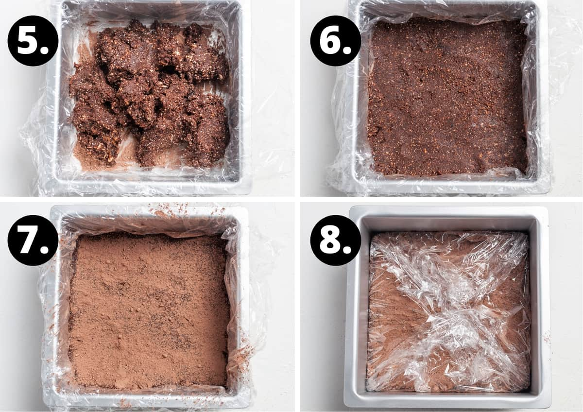 Steps 5-8 of preparing this recipe in a photo collage - adding the mixture to a tin, pressing it down, dusting with cacao powder and covering in cling wrap to set.