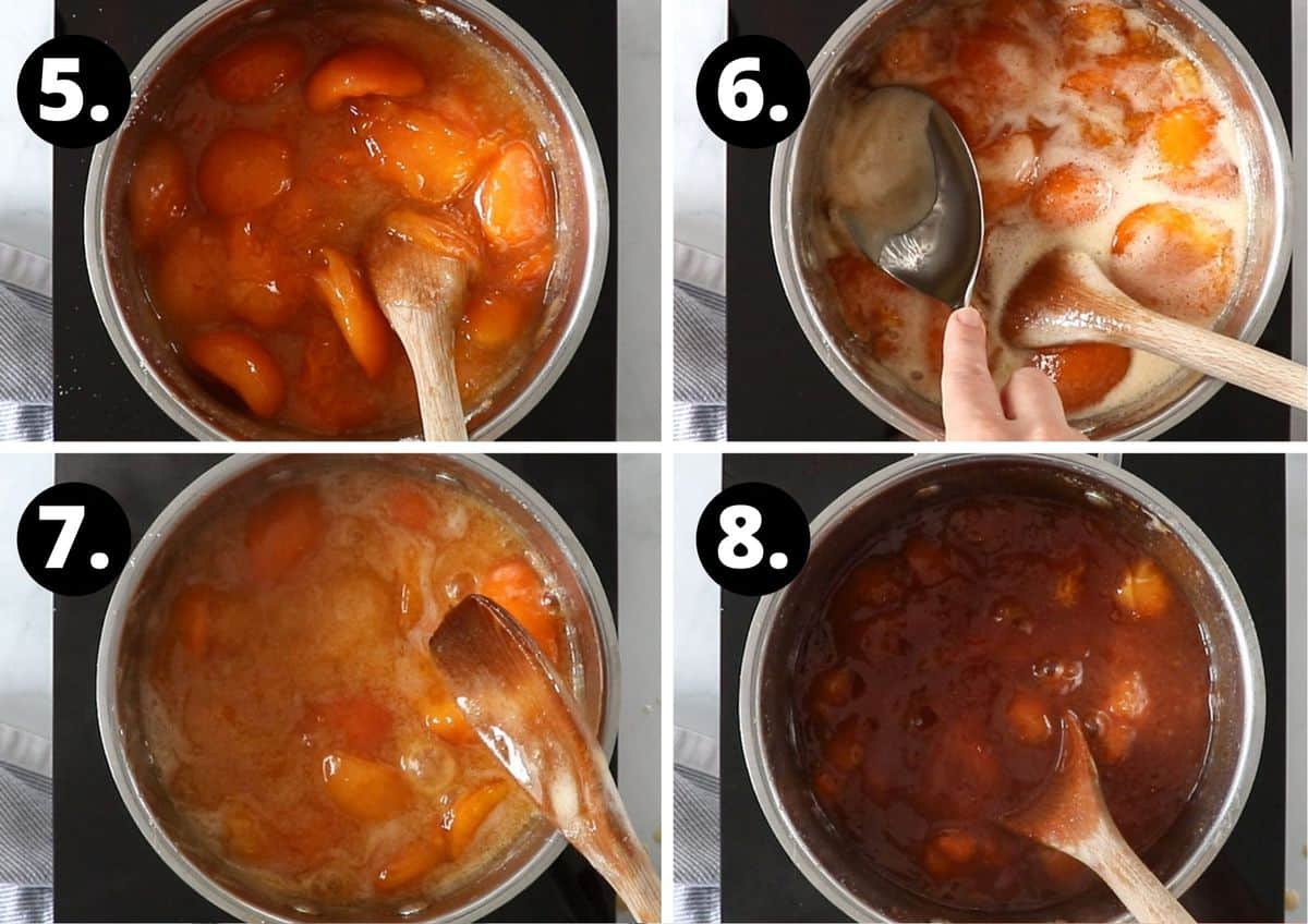 Steps 5-8 of making this recipe - stirring the fruit, removing the scum, the fruit cooking down, and the finished jam in the saucepan.