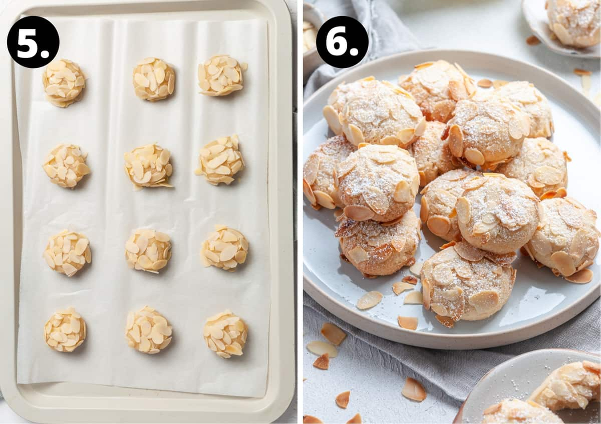 Steps 5-6 of recipe in photo collage - the cookies rolled out and ready to bake and the baked cookies on a white plate.