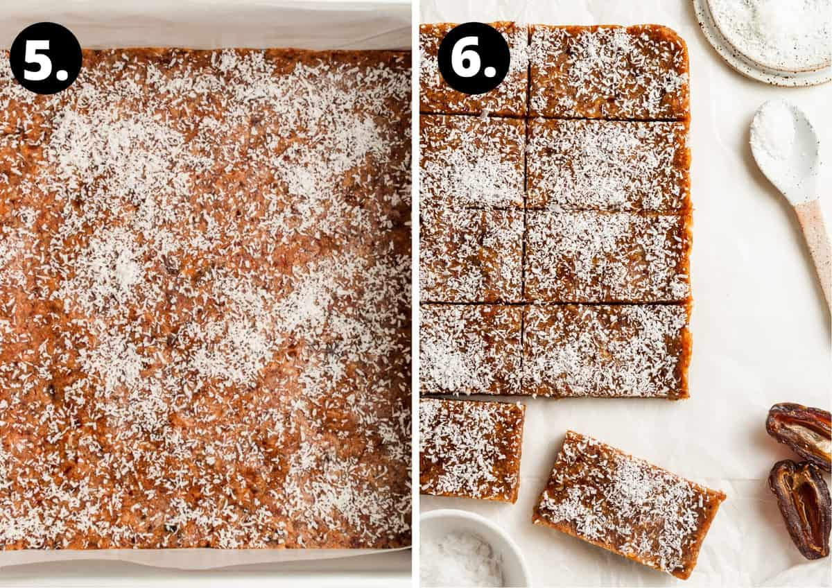 The final two steps to prepare in this recipe in a photo collage - the slice dusted with coconut and then cut up into pieces.