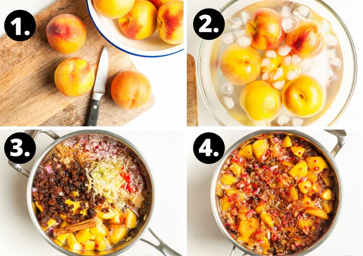 Steps 1-4 of making this recipe - preparing the peaches, the peaches in an ice bath, the ingredients in a saucepan and the chutney cooking down.