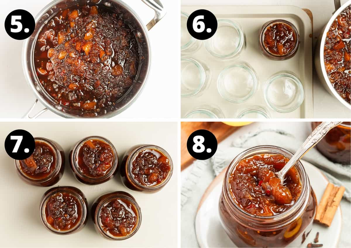 Steps 5-8 of making this recipe - the cooked chutney, putting the chutney into jars, the jars filled and a spoon in the jar ready to serve.