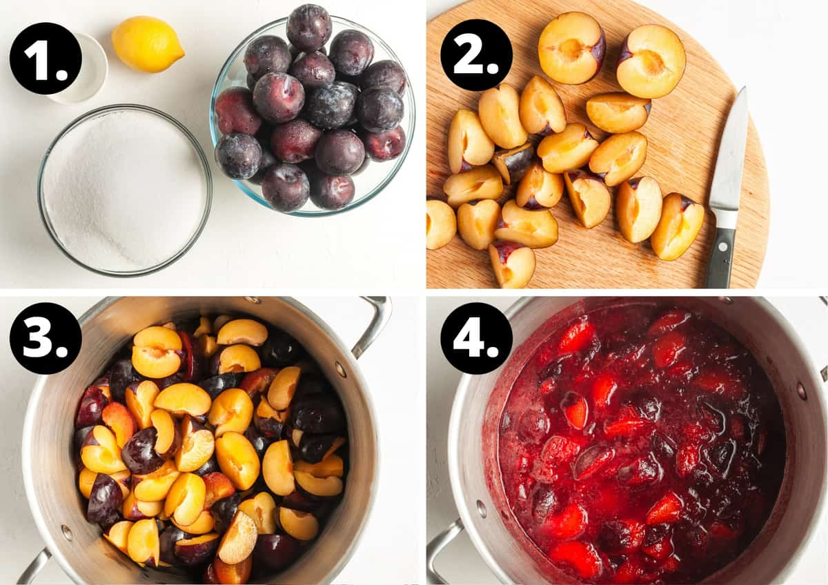 Steps 1-4 of preparing this recipe in a photo collage - the ingredients, preparing the plums, the plums in a saucepan, and the plums starting to soften.