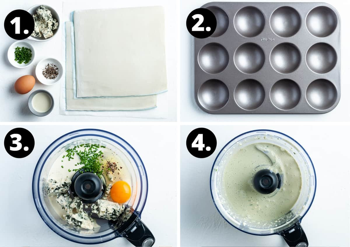 Steps 1-4 of preparing this recipe in a photo collage - the ingredients, the tin, the mixture in a food processor, and the blended mixture.