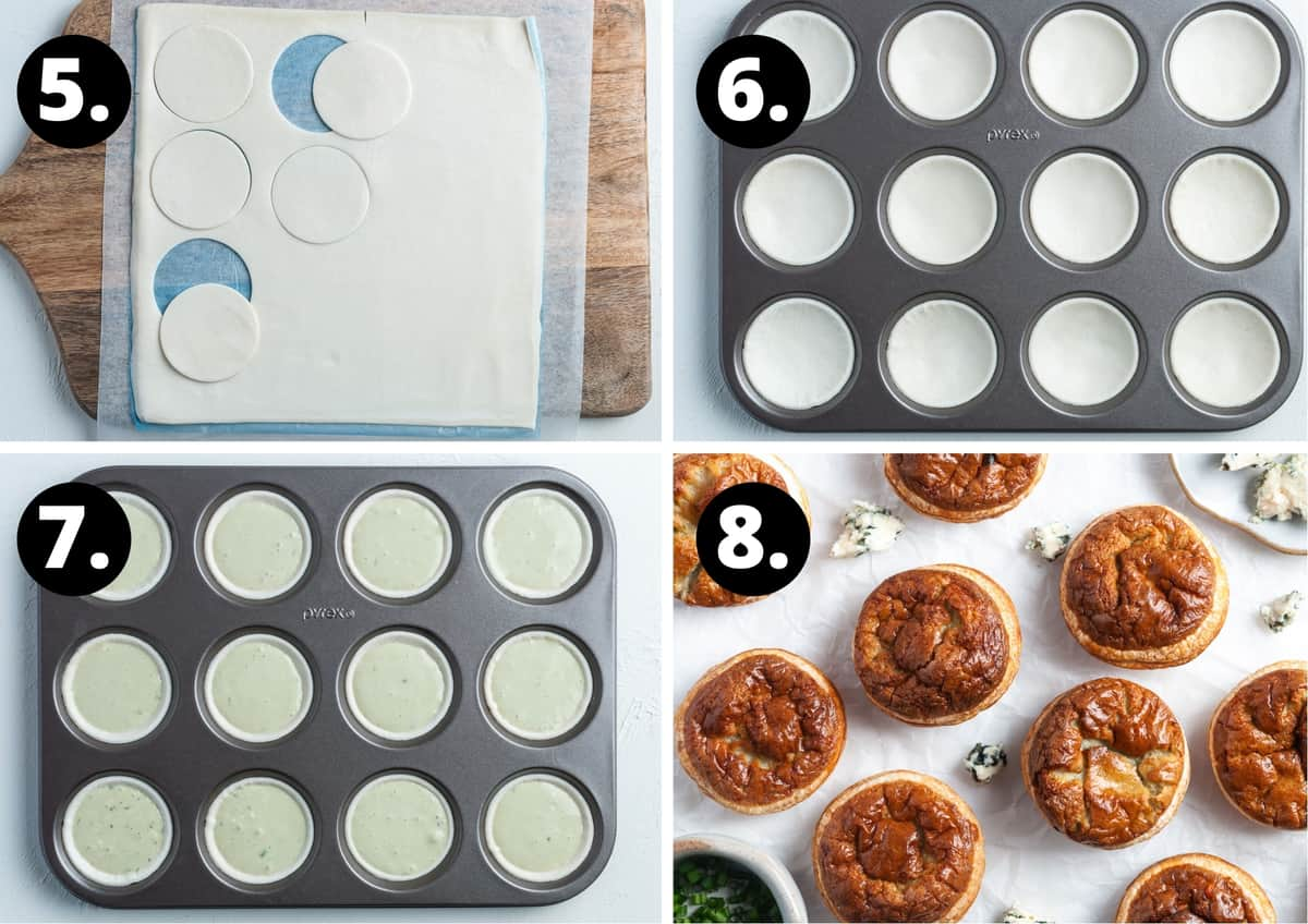 Steps 5-8 of preparing this recipe in a photo collage - cutting out the pastry rounds, pastry in the tin, the filled tart cases and the baked tarts.