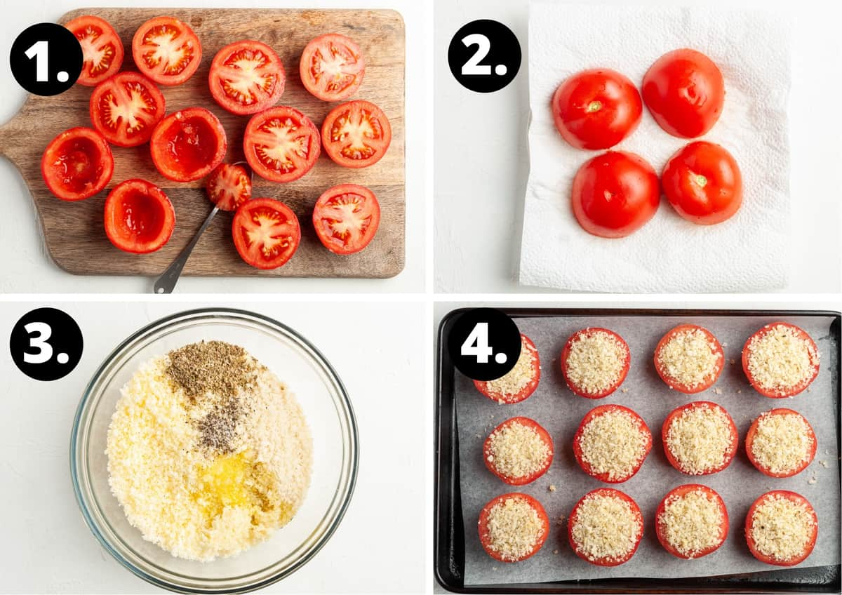 Four steps to make this recipe in a photo collage - preparing the tomatoes, allowing the excess moisture to drain, mixing the crumb filling and filling the tomatoes.