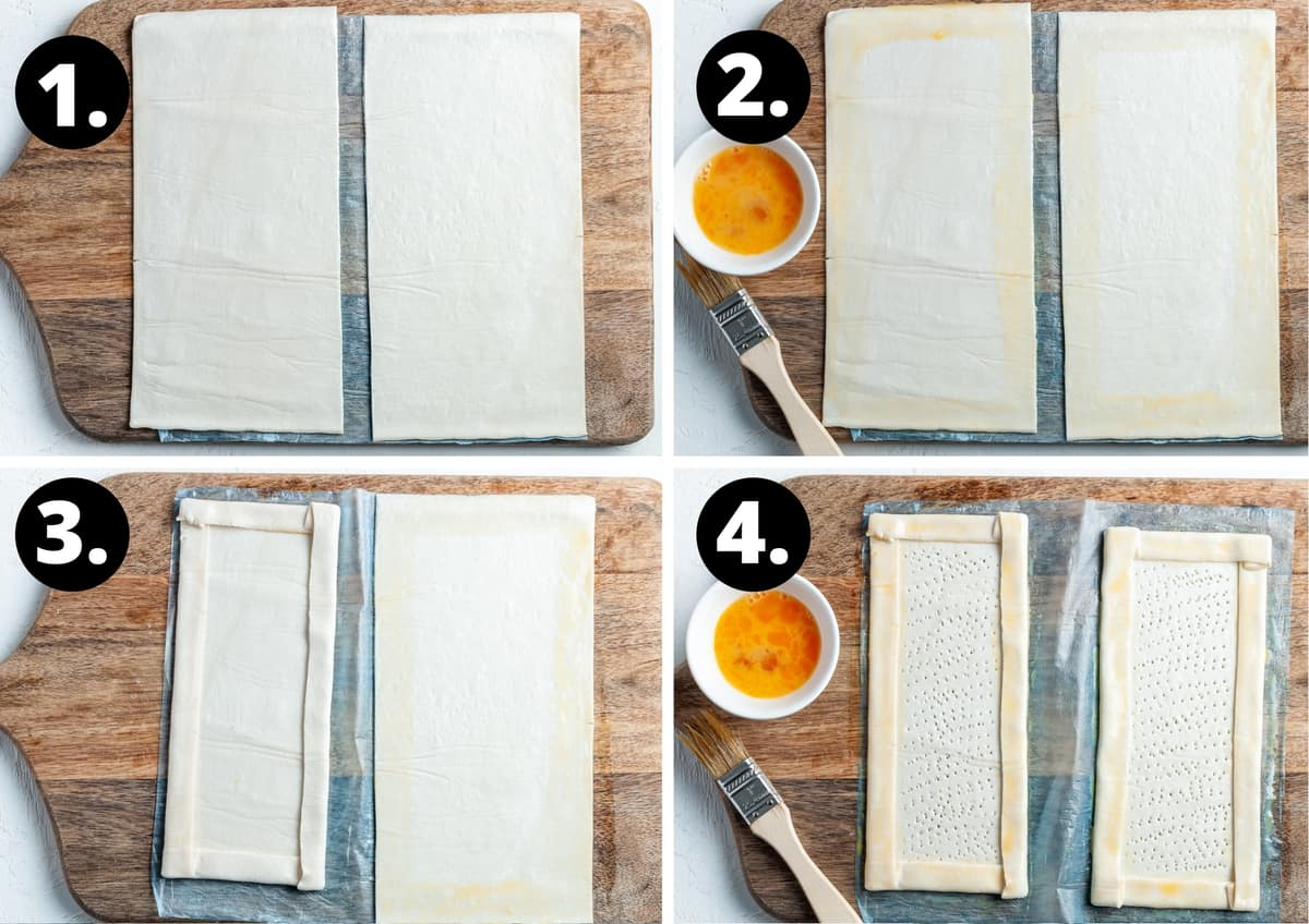 Steps 1-4 of preparing this recipe in a photo collage - cutting the pastry in half, brushing the edge with egg wash, folding the edges over and pricking pastry with fork.
