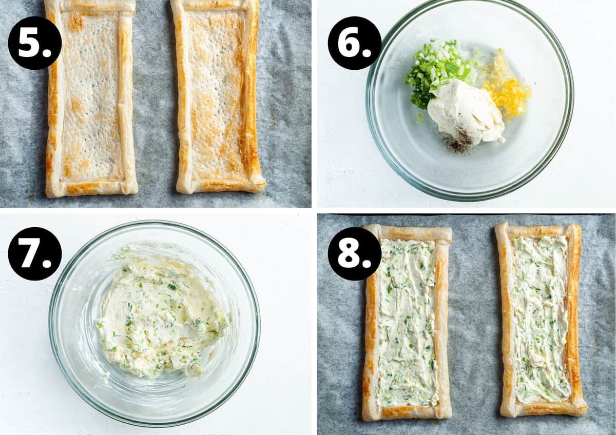 Steps 5-8 of preparing this recipe in a photo collage - the partially cooked pastry, ingredients for topping in bowl, mixed ingredients in bowl and topping pastry with cream cheese filling.