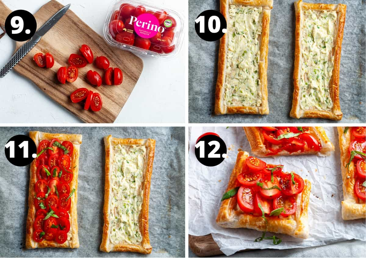 Steps 9-12 of preparing this recipe in a photo collage - chopping tomatoes, the cooked tart, topping the tart with tomato slices and the finished tart sliced.