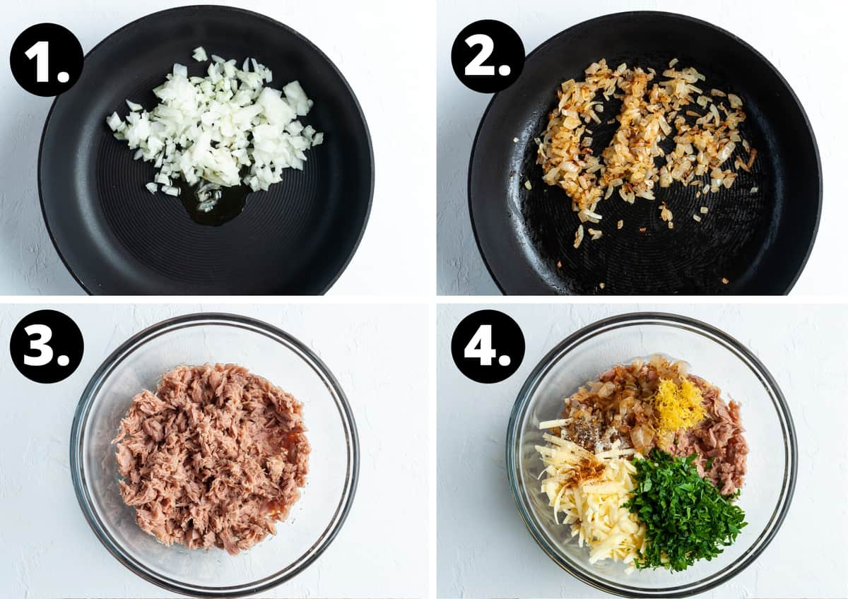 Steps 1-4 of preparing this recipe in a photo collage - the chopped onions in a pan, the cooked onions, breaking up the tuna, the ingredients together in a bowl.
