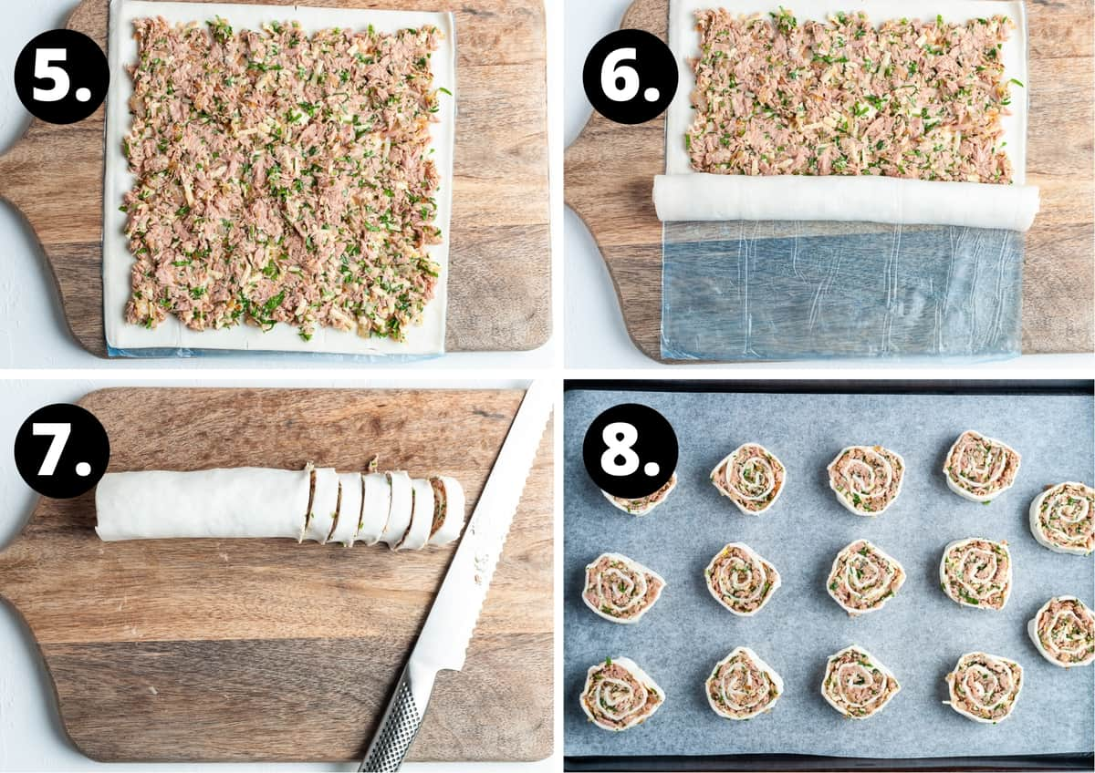 Steps 5-8 of preparing this recipe in a photo collage - the mixture on pastry, starting to roll the pastry up, cutting the pinwheels and the pinwheels on a baking tray.