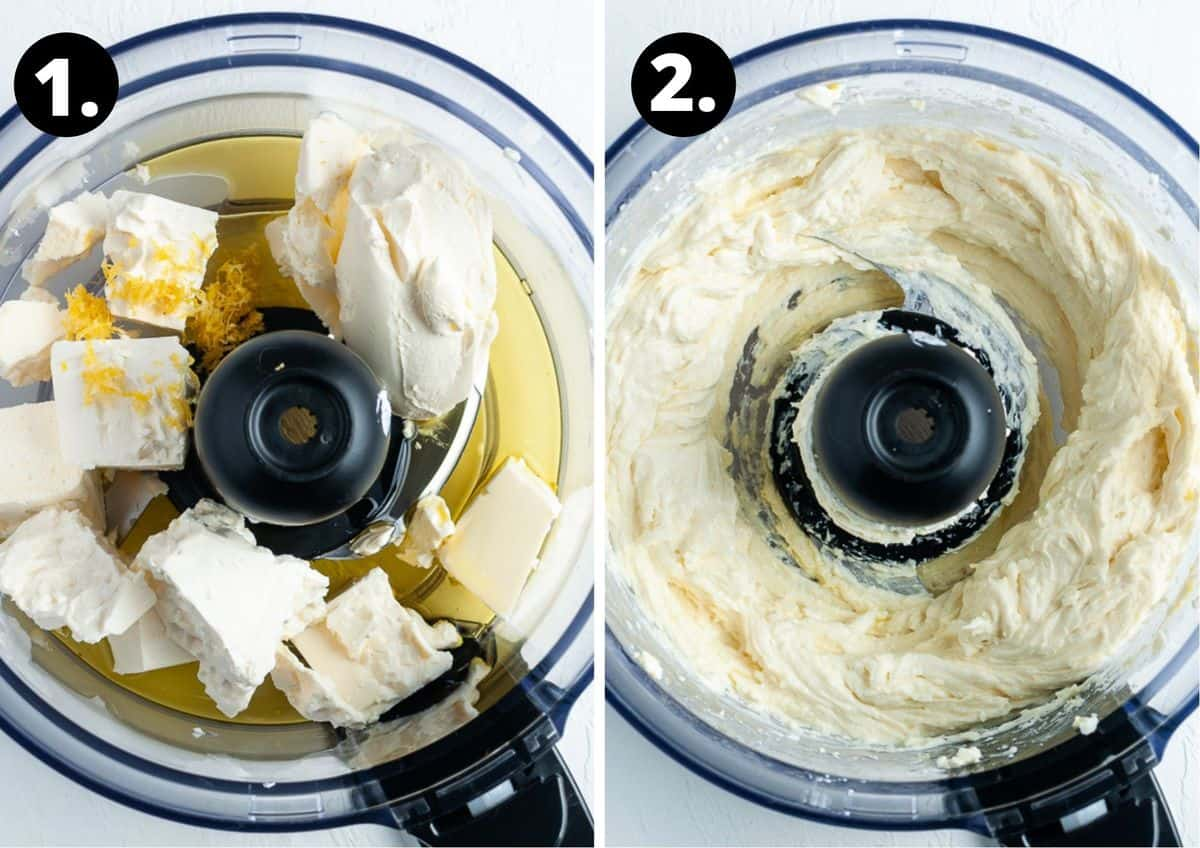 The two steps to make this recipe - adding all of the ingredients to a food processor and the blended mixture.