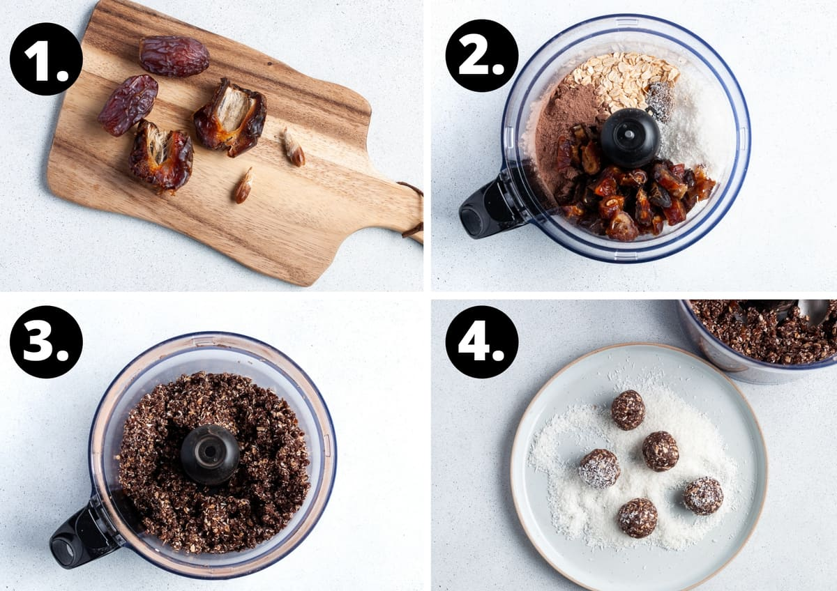Steps 1-4 of making this recipe in a photo collage - cutting the dates and removing the pits, adding all of the ingredients to a food processor, the blended mixture, and rolling the bliss balls in coconut.