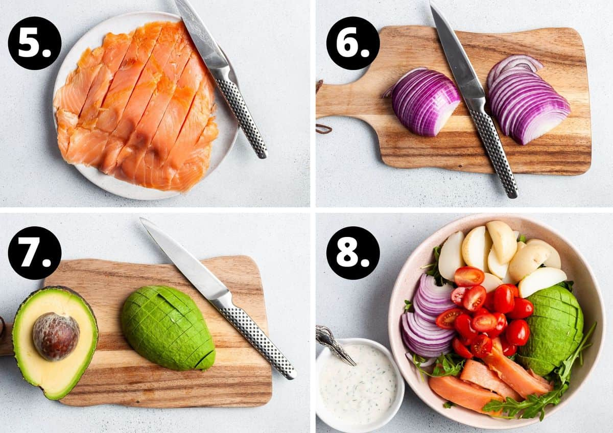 Steps 5-8 of preparing this recipe in a photo collage - slicing the smoked salmon, cutting the onion, cutting the avocado into cubes and assembling the salad.