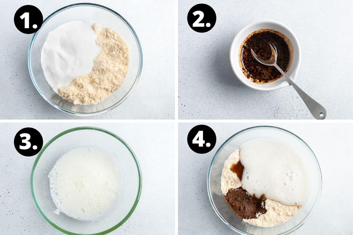 Steps 1-4 of preparing this recipe in a photo collage - adding the sugar and almond meal to a bowl, mixing the coffee, the lightly whisked egg whites, and all of the ingredients in a bowl.