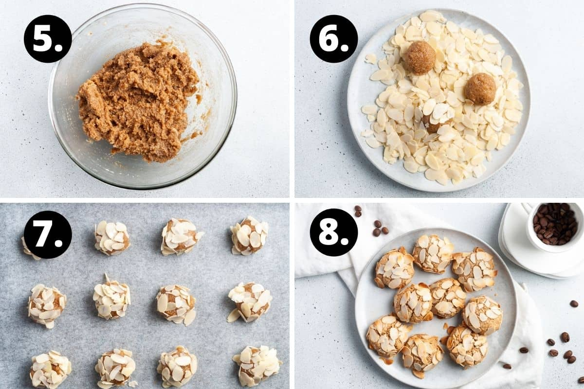 Steps 5-8 of preparing this recipe in a photo collage - the combined mixture, rolling the cookies in almond flakes, the uncooked cookies on a baking sheet, and the baked cookies on a plate.