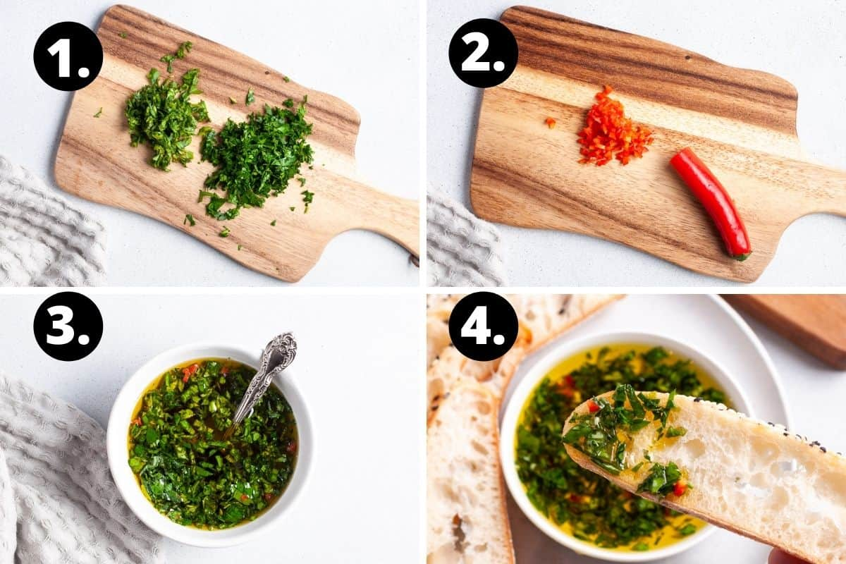 Steps 1-4 of preparing this recipe in a photo collage - chopping the herbs, chopping the chilli, mixing the ingredients together and bread being dipped into the oil.