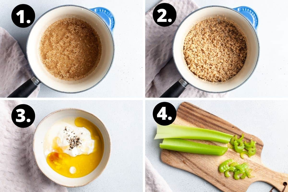 Steps 1-4 of preparing this recipe in a photo collage - the uncooked quinoa in a saucepan, the cooked quinoa in a saucepan, the dressing ingredients in a small bowl and chopping the celery on a wooden board.