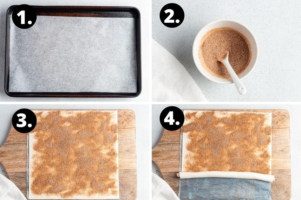 Steps 1-4 of preparing this recipe in a photo collage - liking a baking tray with paper, the cinnamon sugar mixture, the mixture on the pastry and starting to roll the pastry.