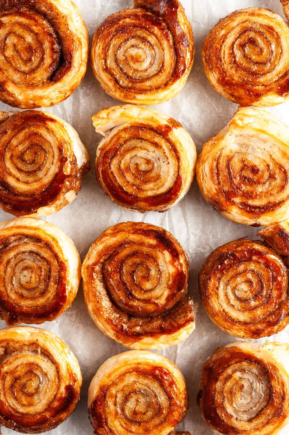 Overhead shot of the baked pinwheels fresh from the oven.