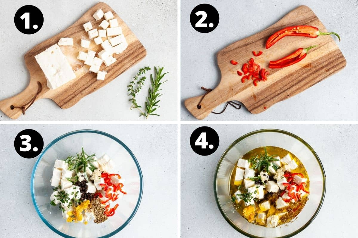 Steps 1-4 of preparing this recipe in a photo collage- cutting the feta, cutting the chillies, adding all of the ingredients to a bowl and topping with olive oil.