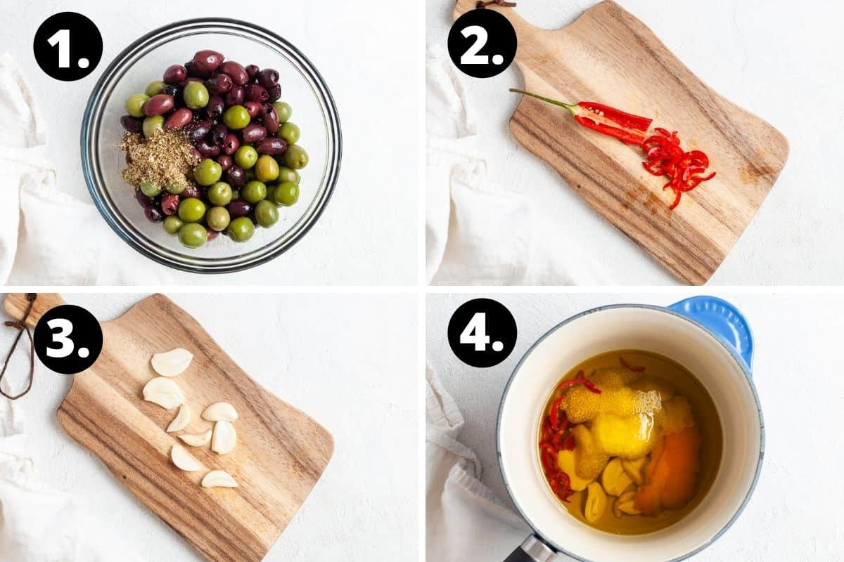 Steps 1-4 of preparing this recipe in a photo collage - the olives in a bowl, cutting the chilli, cutting the garlic, and warming the peel, garlic and chilli in a saucepan of oil.