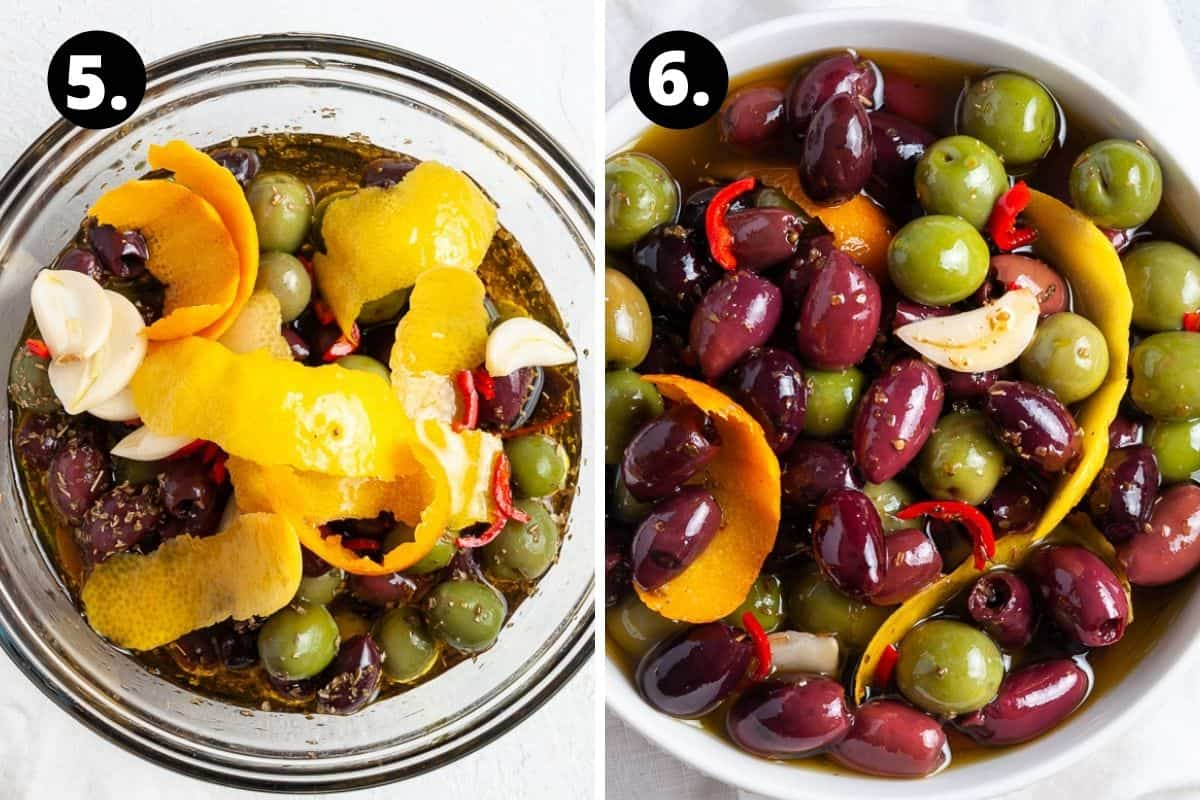 Steps 5-6 of preparing this recipe in a photo collage - the ingredients in a bowl and the prepared olives.