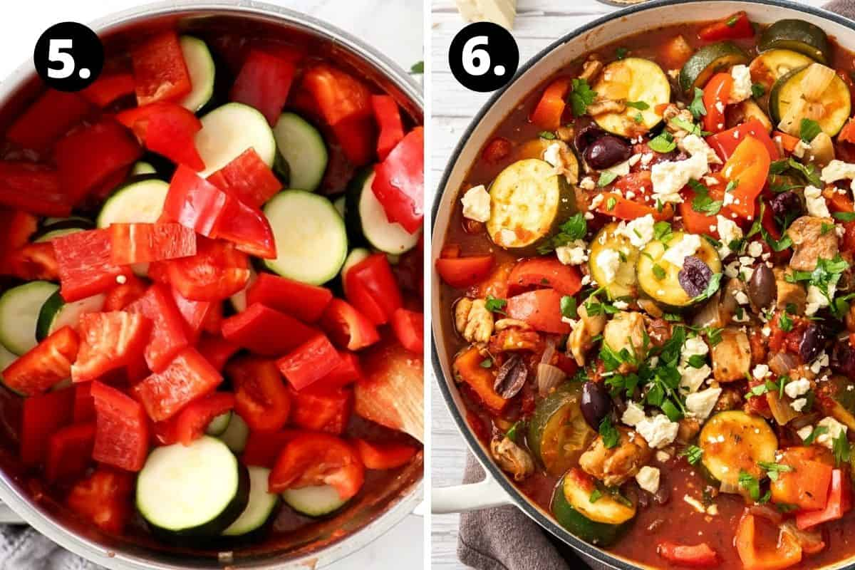 Steps 5-6 of preparing this recipe in a photo collage - adding the zucchini and capsicum to the pot and the finished dish garnished with feta and parsley.