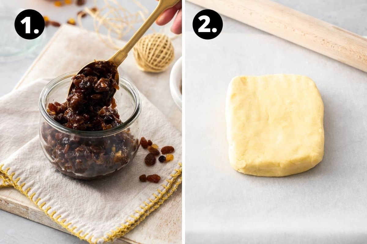 Steps 1-2 of preparing this recipe in a photo collage - stirring the fruit mince, and the block of pastry ready to roll.