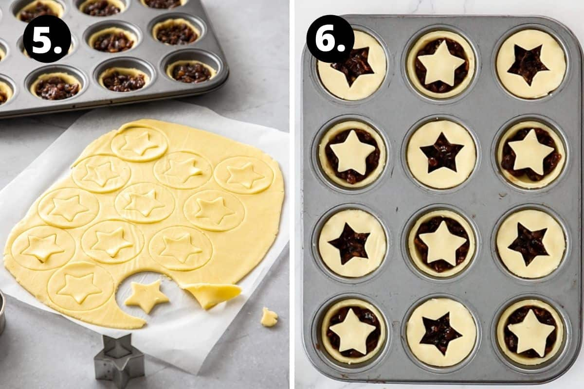 Steps 5-6 of preparing this recipe in a photo collage - cutting out the star toppings from the pastry for the tarts, and the tarts ready to go into the oven to be baked.