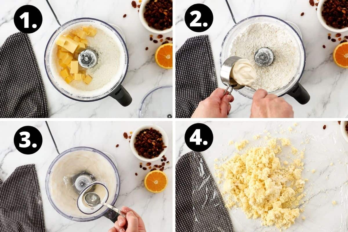 Steps 1-4 of preparing this recipe in a photo collage - the butter and flour in a food processor, adding the sour cream, slowly adding the water to the mix, and bringing the dough together on some cling film.