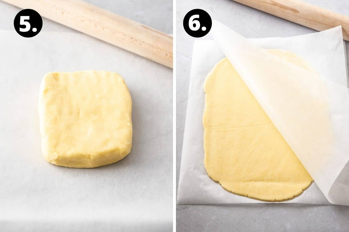 Steps 5-6 of preparing this recipe in a photo collage - a square of pastry and the pastry rolled between two sheets of baking paper.