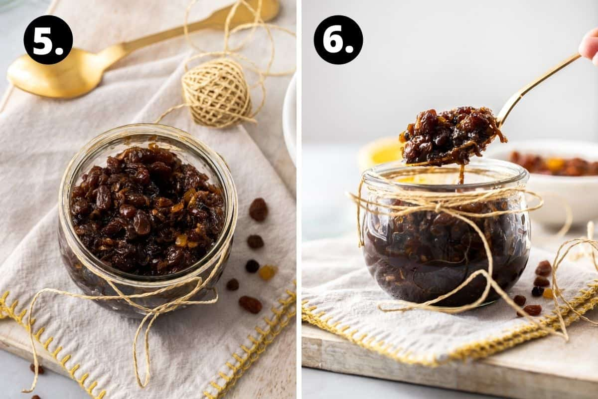 Steps 5-6 of preparing this recipe in a photo collage - the fruit mince in a jar, and a spoon lifting up the cooked mince from the jar.